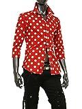 ドット柄 シャツ メンズ 水玉 ドレスシャツ 半袖 長袖 七分袖 黒 白 赤 ネイビー カジュアルシャツ 大きいサイズ 赤 七分袖-M