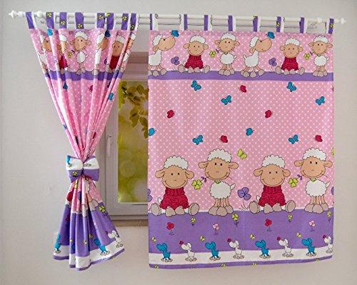 babylux kinderzimmer vorhange mit schlaufen kinder und baby gardinen 2 lila schaf. Black Bedroom Furniture Sets. Home Design Ideas