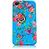 Xtra-Funky Exclusive Soft Silicone Flower Floral & Butterflies Case for Apple iPhone 4 & 4S (Blue Floral & Butterflies)