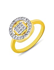 Mahi Gold Plated Square And Round Geometric Fingering With CZ For Women FR1100106G