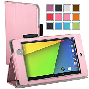 Maxboost Google Nexus 7 2 Case FHD (2nd Generation) Pink - Book Folio Style with Multi-Angle Stand Case, Wallet Card Holder, Elastic Holding Strap, Memory Card Holder - Compatible to Google Nexus 7 2 FHD (2nd Generation 2013 Release)