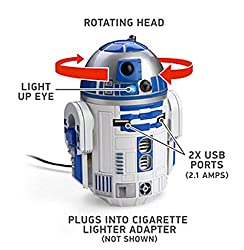 R2D2 USB Car Charger That Whistles & Beeps in Your Cup Holder - Animated Star Wars Car Accessory - With Rotating...