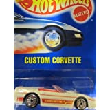Custom Corvette 1993 Hot Wheels #200 White With Ultra Hots Wheels On Solid Blue Card