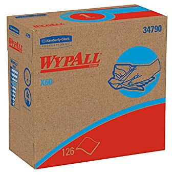 Wypall X60 Reusable Wipers (34790) in Convenient Pop-Up Box, White, 10 Boxes / Case, 126 Sheets / Box