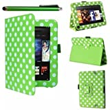 Multi Bargains Offers : Green Polka Dots Executive Multi Function Leather Case Cover For Amazon Kindle FIRE (not for HD version) and Flip Stand Wallet With FREE Capacitive Stylus Pen and Screen Protector