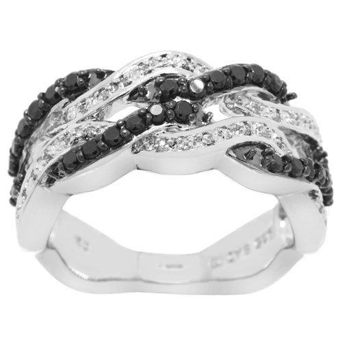 Sterling Silver Black and White Cubic Zirconia Ring, (0.95 cttw), Size 7