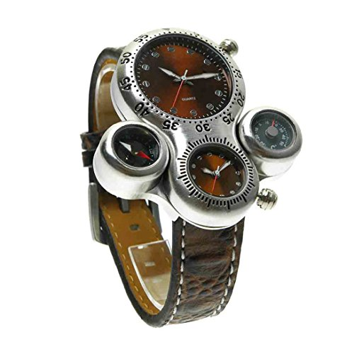 Wensltdtm High Quality Multiple Time Zone Watch Leather Band Quartz Watch Casual Watches