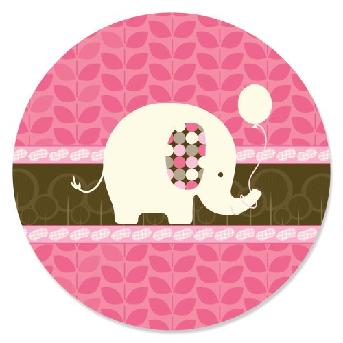 Pink Elephant - Circle Sticker Labels (1 Sheet Of 24) front-719082