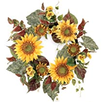 Melrose International Yellow Sunflower and Pansy Wreath 22-Inch