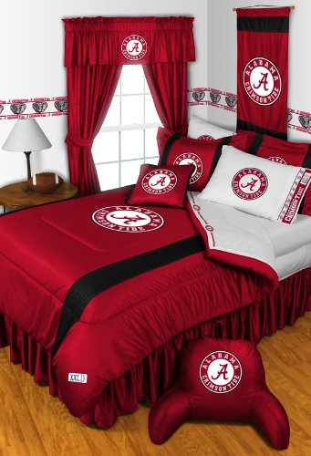 Alabama Crimson Tide Full Size 14 Pc Bedding Set (Comforter, Sheet Set, 2 Pillow Cases, 2 Shams, Bedskirt, Valance/Drape Set - 84 Inch Length & Matching Wall Hanging) - Save Big On Bundling!
