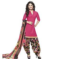 Anjali Presents Fancy Red and Black Printed Dress Material with Dupatta