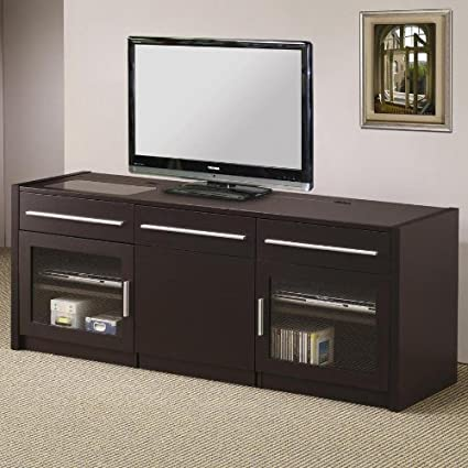 "Espresso finish wood 24"" H TV stand entertainment center with storage drawers and built in connect it drawer with slide out center game caddy"
