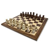 WE Games Medieval Chess Set - Polystone Pieces with Distressed Wooden Board 15 in.