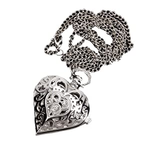 Antique Women Silver Heart Shape Pandent Quartz Pocket watch Necklace Chain