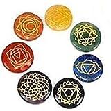 7 Chakra Symbole Edelstein-Set in einem Beutel