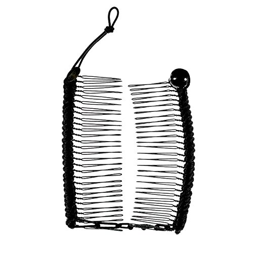 HairZing Cord S-T-R-E-T-C-H Banana Comb, Hair Accessory Perfect for Easy Ponytail, UpDo or Faux Hawk, Black, Medium (Hair Updo Clip compare prices)