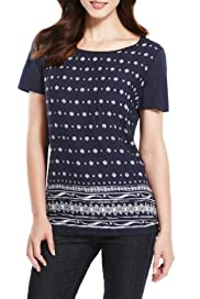 S Sleeve Top - FABRIC MIX TEE [T41-3535W-S]