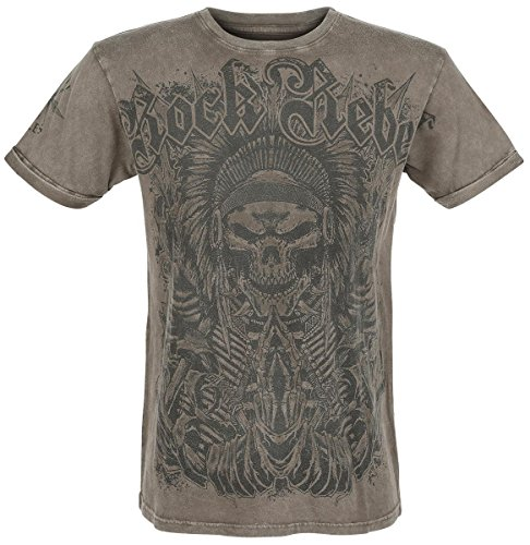 Rock Rebel by EMP Indian Skull T-Shirt marrone XXL