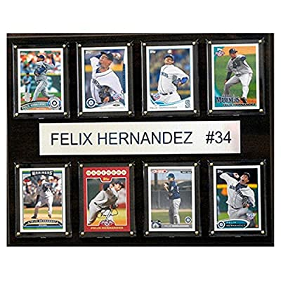 C and I Collectables MLB 15W x 12H in. Felix Hernandez Seattle Mariners 8 Card Plaque