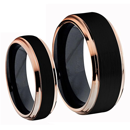 His & Hers Titanium Two Tone Black IP & Rose Gold IP Brushed Center W
