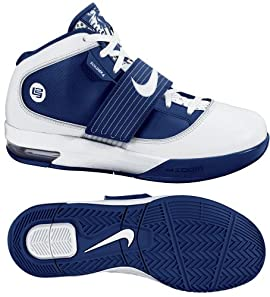 Nike 407630104 Zoom Soldier IV TB Men's Basketball Shoes (White/White-Midnight Navy)