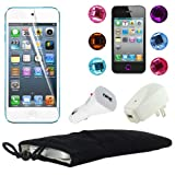 "Skque Black Soft Velvet 5"" Pouch Bag Case Sleeve + Clear LCD Screen Protector + USB 1000mAh Home/Travel Wall Charger + Rapid Car Charger + 6 Pcs Bling Diamond Crystal Style Home Button Sticker for Apple iPod Touch 5th Generation"