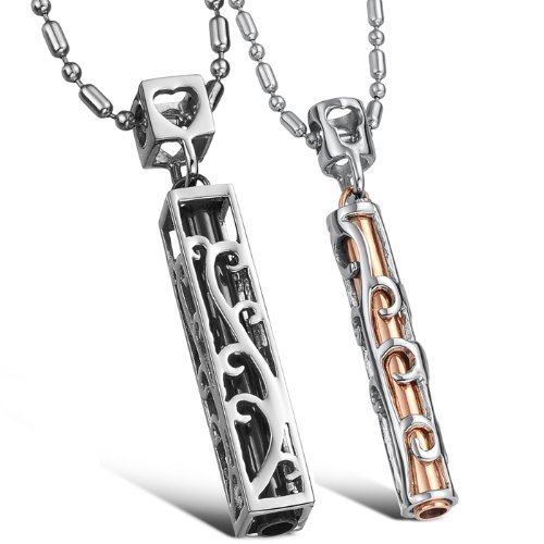 Hhbuy Jewellery Necklaces Stainless Steel Neckwear Chains Strip Pendants Couples Necklets
