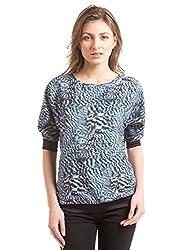 Shuffle Women's Body Blouse Shirt (1021529601_Black Mix_Medium)