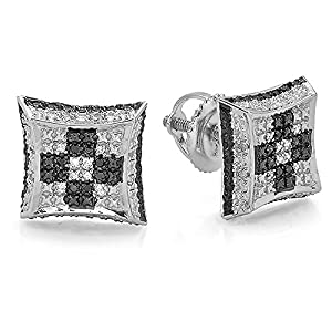 0.10 Carat (ctw) Sterling Silver White & Black Diamond Chess Setting Kite Stud Earrings 1/10 CT