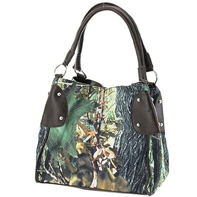 Camouflage Bucket Purse Brown Trim Camo Canvas Hobo Bag