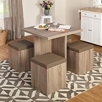 5-piece Stylish and Contemporary, Space Saving Beige Baxter Dining Set with Storage Ottoman. This Set Have a Laminated Finish with Chairs Upholstered with Taupe Vinyl. Very Good for Homes Small Areas and Apartments with Limited Spaces.
