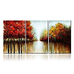 Asmork 100% Hand-Painted Autumn Scenery Trees Landscape Southwest Panel Wall Art Oil Paintings On Canvas Paintings Home Decor Ready To Hang Artwork - 3 Piece ...