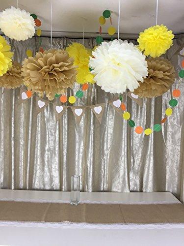 Yellow nursery pom poms : 12pcs mixed 8 10 14 ivory yellow coffee tissue paper pom poms ...