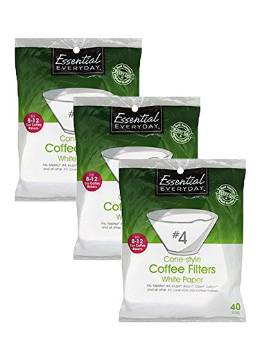 No. 4 Cone Coffee Filter in White 40 Count (Pack of 3), Total of 120 Filters