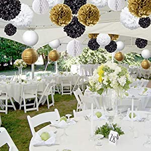 Paper Lanterns Graduation Decor Birthday Celebrations Wedding Hanging Tissue Paper Pom Poms 15Pcs Black Gold White Table /& Wall Party Decorations Kit