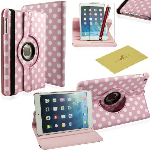 Fulland Colorful 360 Rotating Flip Leather Case Cover For Apple Ipad Mini And New Ipad Mini 2 With Smart Auto Wake/Sleep Function Plus Stylus Touch Screen Pen And Screen Protector-Polka Dot Baby Pink/White front-27399