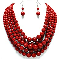 Simple Statement Beaded Layered Strands Red Stone Look Pearl Beads Necklace Earrings Set Gift…