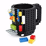 SmartWild Drinkware Building Blocks Mugs DIY Block Puzzle Mug 12oz 1Piece Build-On Brick creative Mug Lego Type Coffee Cup (Black)