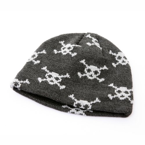 855a62e7a1a GREY SKULL   CROSSBONES WINTER BEANIE