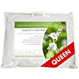"Balance Living Buckwheat Pillow Queen Size 20""x 30"", 100% Organic Cotton Cover"