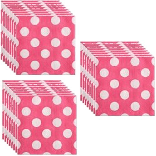 Hot Pink Polka Dot Party Lunch Napkins - 24 Guests by Unique