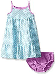 Nautica Baby Geo Print Tiered Dress with Contrast Binding, Light Turquoise, 24 Months