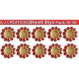 A J Creations (TM) Diwali Diya Lights Candle Holder Home Decoration, Set Of 10