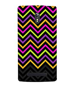 Disco Chevron Lines 3D Hard Polycarbonate Designer Back Case Cover for Oppo Find 7