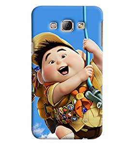 Blue Throat Boy Cartoon Character Printed Designer Back Cover/Case For Samsung Galaxy A8