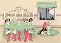 12 Christmas cards: Beagle family waits for Santa on Christmas eve / Lynch folk art