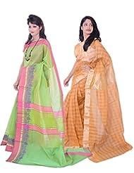 Banarasi Silk Works Gorgeous Green And Orange Super Net Cotton Embroidered Combo Saree