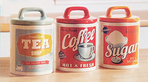 Retro Set 0f 3 Classic 50s60s Style Tea Coffee Sugar Canisters Jars By Vintage Home The British Kitchen Company