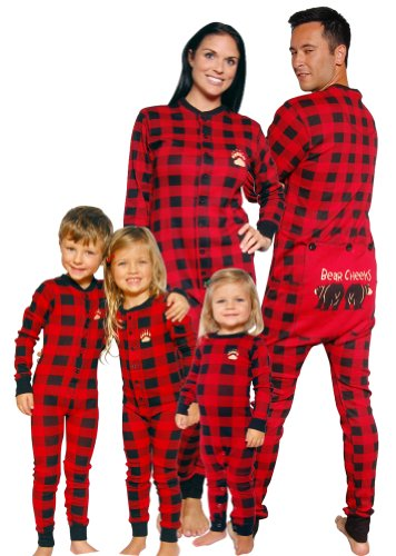 Lazy One Bear Cheeks Kids Red & Black Plaid Flapjacks (3T) (Black Bear Pajamas compare prices)