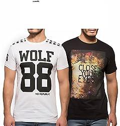 Yo Republic Mens Cotton Tshirt Combo Offer (Pack of 2)(AT-0066-1M_White_Black_Medium)